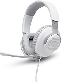 JBL Quantum 100 White Wired over-ear gaming headset with a detachable mic