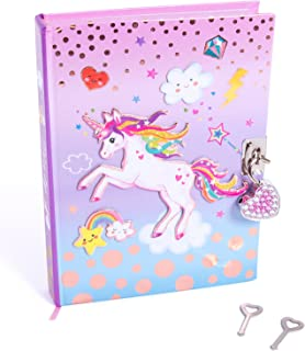 Hot Focus Unicorn Secret Diary with Lock - 7? Journal Notebook with 300 Double Sided Lined Pages, Padlock and Two Keys for...
