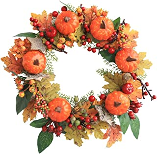 hopefull リース ハロウィン 感謝祭 クリスマス 花輪 55cm 造花ドアリース 飾り 秋の松ぼっくり+メープル+カボチャ 収穫シーズン ホームショッピングモールの窓の装飾 ドア吊りのウェルカムリース ドア 玄関飾り 人工果物 部屋 手作り