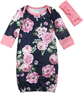 c181a5ee0b8 Newborn Baby Girl Floral Nightgowns with Headband Sleeper Gown Take Home  Outfit Pink