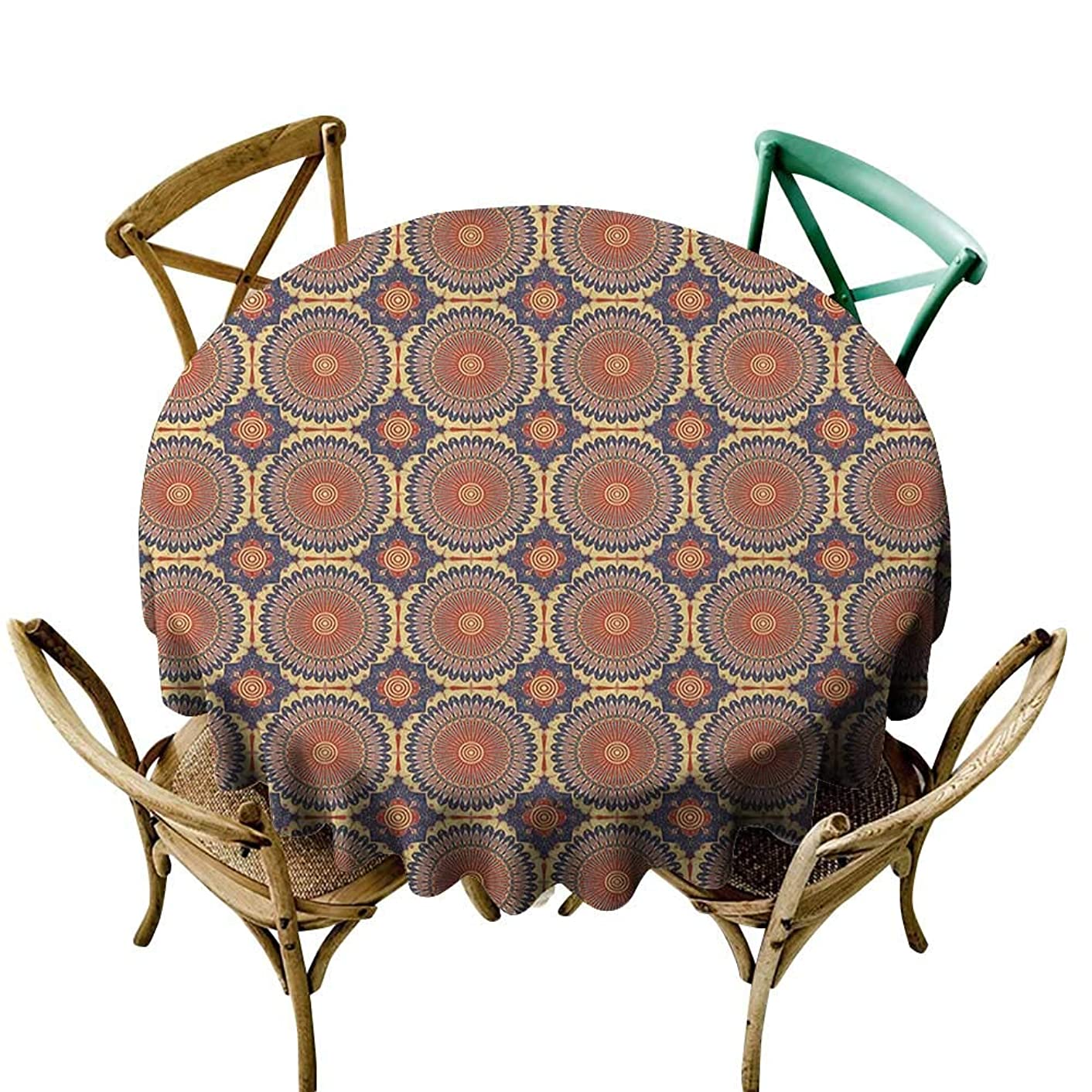 Wendell Joshua The Pattern Round Table Cloth 70 inch Mandala,Ethnic Round Figure with Arabesque Design Details Eastern Ancient Moorish Culture, Multicolor Indoor/Outdoor Spillproof Table Cloth