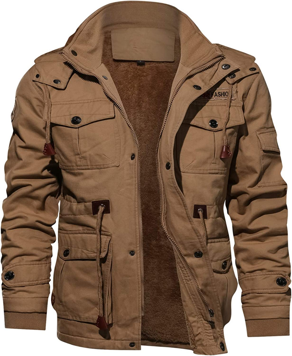 Soluo Men's Faux Leather Jacket Casual Brown Motorcycle Jacket Outerwear Windbreaker with Removable Hood (Khaki,Medium)
