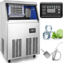 VEVOR 110V Commercial Ice Maker 150LBS/24H with 44lbs Storage Capacity Stainless Steel Commercial Ice Machine 45 Ice Cubes Per Plate Industrial Ice Maker Machine Auto Clean for Bar Home