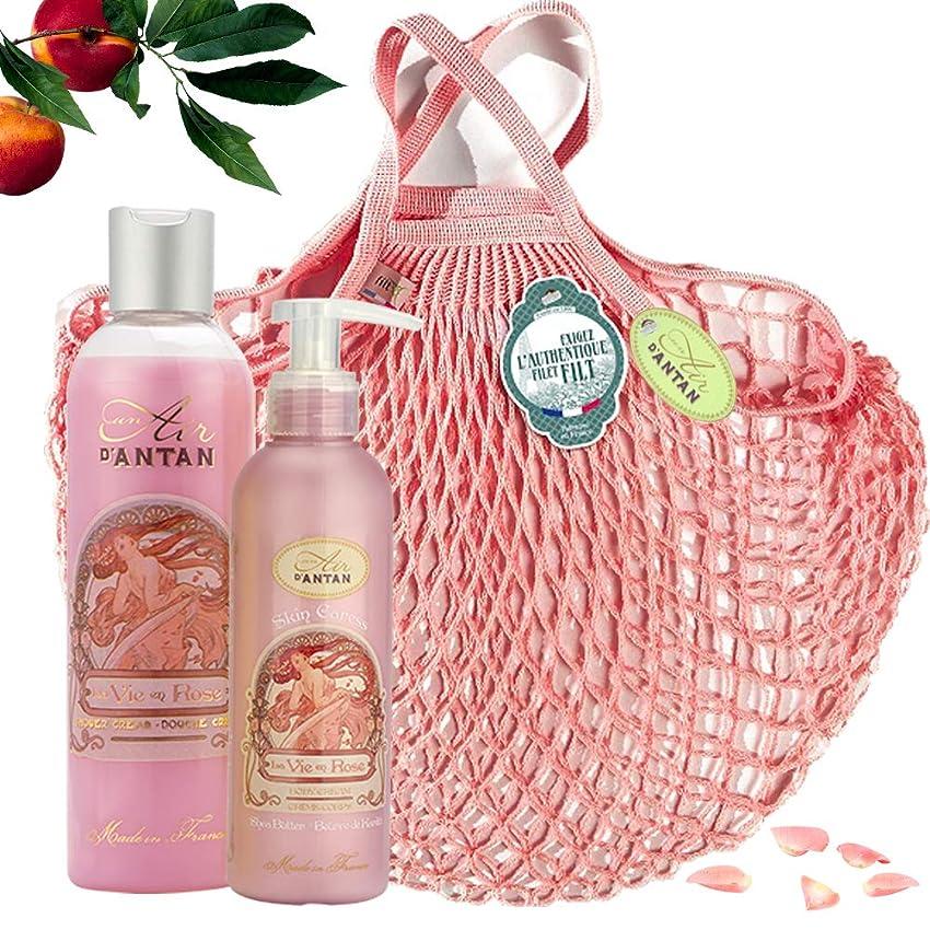 大宇宙八百屋文明化ROSE Woman Beauty Set - ロトデュオバス&ネットフィットケア:1シャワージェル250ml、1ボディローションモイスチャライザー200ml - ピンクの香水、ピーチ、パチョリ - 記念日のギフトのアイデア、フランス製