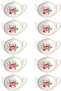 RockTrend Vintage Rose White Porcelain Ceramic Teapot-Shaped Tea Bag Holder Tea Bag Coasters, Spoon Rests; Classic Tea Saucer Seasoning Dish with Flower Trim Gold Rim (Flower B, 10 PCS)