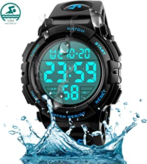 Ruispeed Men's Digital Sports Watch, 50M Waterproof LED Screen Large Face Backlight Luminous Military Watches, Casual Stopwatch Alarm Army Wrist Watch