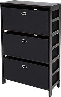 Winsome Torino 4-PC Set Shelf w Fabric Baskets Storage and Organization, Espresso/Black