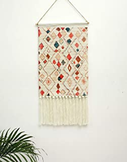 Macrame Woven Wall Hanging Tapestry, Indian Boho Chic Bohemian Aztec Home Decor,Diamond Geometric Art Decor Boho Backdrop, Beautiful Apartment Dorm Room Door Decoration, 17.3 W x 32 L