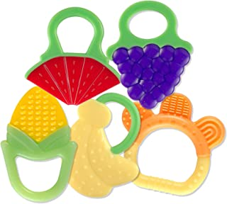 Baby Teething Toys (5 Count)   Food-Grade Soft Silicone Fruit Teethers for Babies   Fridge & Dishwasher Safe   BPA-Free Teether Set for Boys & Girls