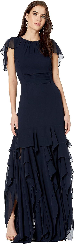 HALSTON Women's Cape Sleeve Gown with Flounce Skirt