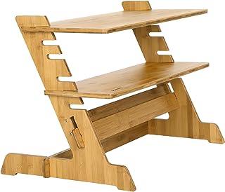 SONGMICS Steh-Sitz Schreibtisch Tischaufsatz Laptoptisch Monitorständer Arbeitsplatz Stehpult Sit Stand Workstation Höhenverstellbar leicht für Monitor Bildschirm Laptop LLD97N