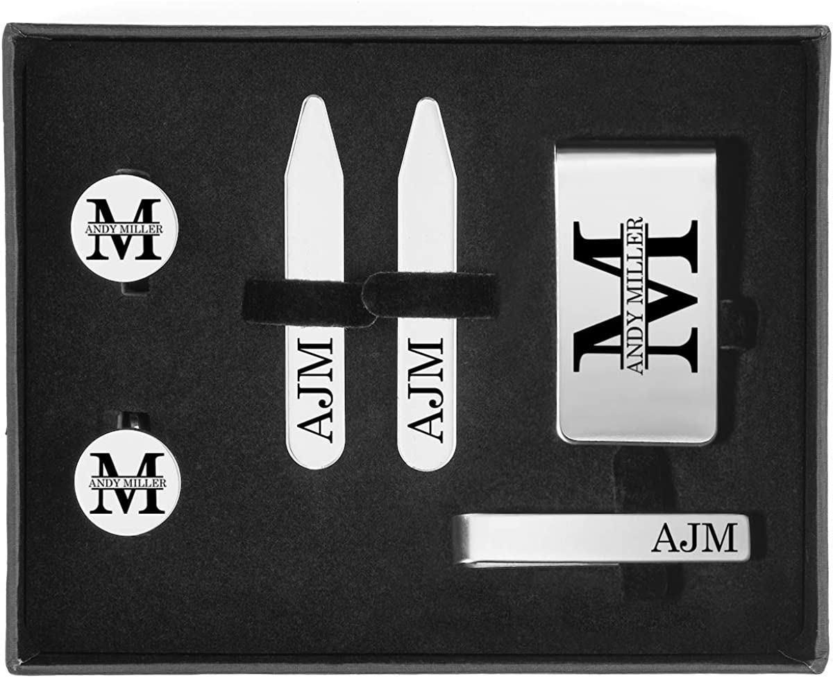 Engraved Money Clip, Tie Bar Clip, Round Cuff Links, Collar Stays Set Block Initial Custom Personalized