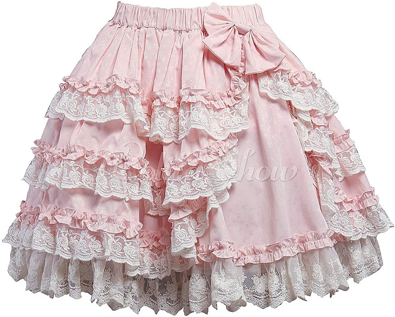 Antaina Pink Cotton Floral Lace Ruffled Layered Bow Sweet Lolita Underskirt