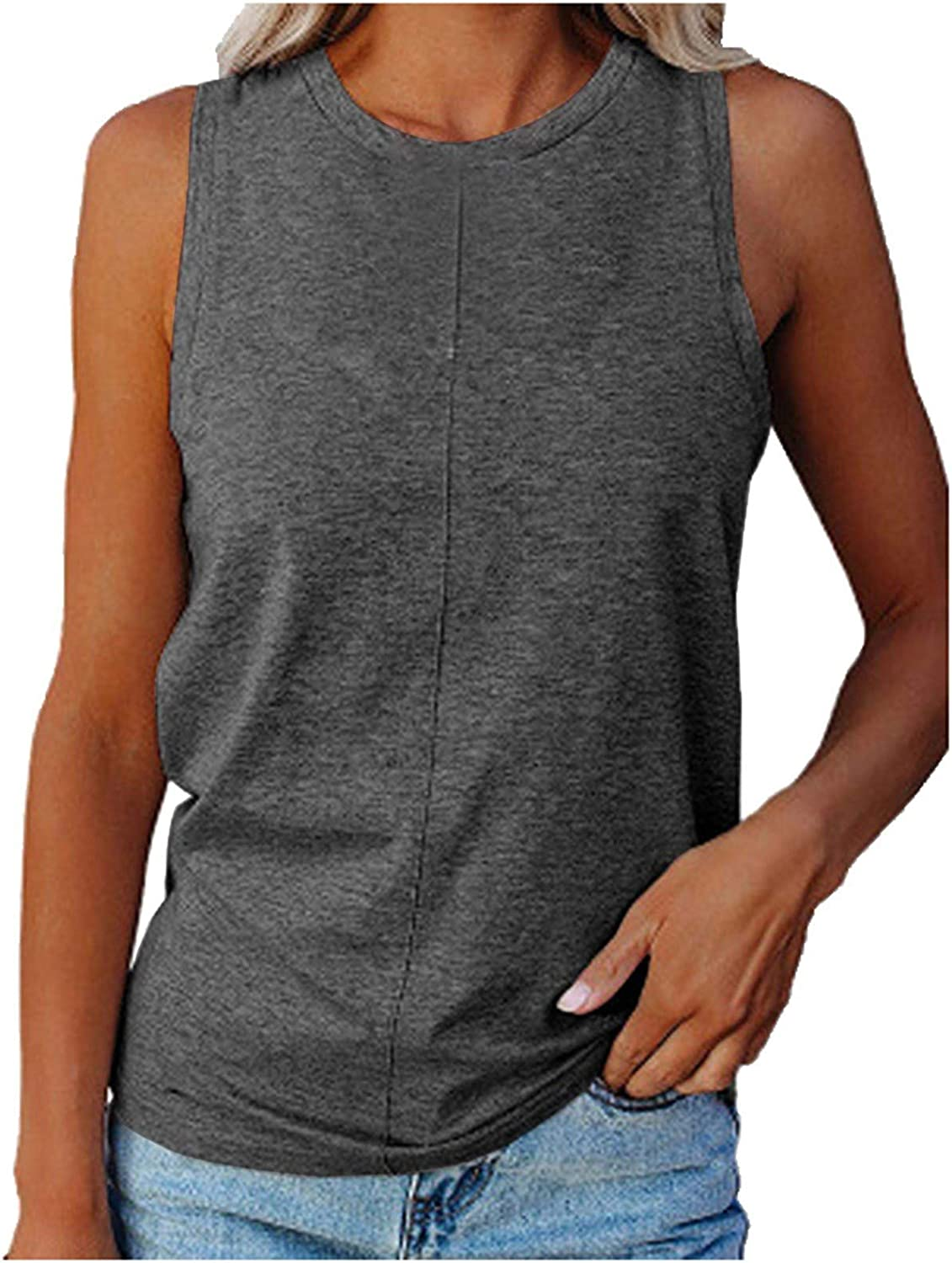 Max 54% OFF NKAA Women Summer O-Neck Sleeveless Color Slim Casual Tops Solid Max 52% OFF