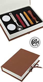 Gift Pro European Retro Wooden Alphabet Letter Initial Wax Seal Stamp Kit Vintage Letter/Envolop Wax Sealing Set with Gold Red Silver Sticks (C)