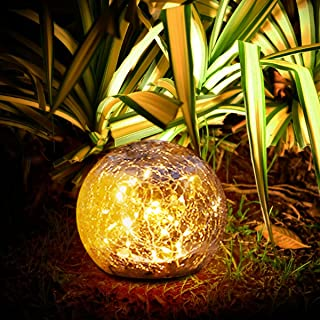 Sooair Lanterne Solaire, Lanterne Solaire Exterieur Beau et Délicat LED Lanterne Solaire Fait de Verre Lanterne Solaire Ja...