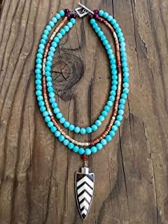 Amazonite Necklace with Chevron Arrowhead Mexican Fire Opal Fuchsia Tigers Eye Carnelian and Sterling Silver