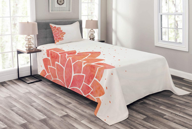Ambesonne Lotus Flower Bedspread Aquarelle Style Challenge the lowest price Lily Half Ayur Atlanta Mall