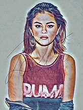 Selena Gomez Drawing Print Poster Hand Drawn Coloured Pencil #GOMEZ2