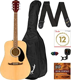 Fender FA-125 Dreadnought Acoustic Guitar - Natural Bundle with Gig Bag, Tuner, Strap, Strings, Picks, and Austin Bazaar Instructional DVD