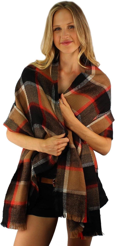 Winter Warm Big Large Blanket Ultra Soft English Plaid Scarf Wrap Shawl Camel