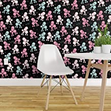 Spoonflower Peel and Stick Removable Wallpaper, Pretty Poodles Retro Pet Poodle Pink Dog Rockabilly Print, Self-Adhesive Wallpaper 24in x 108in Roll