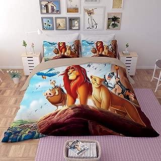 EVDAY 3D The Lion King Duvet Cover Set for Boys Bed Set Super Soft Microfiber Popular Cartoon Film Theme Kids Bedding 3Piece Including 1Duvet Cover,2Pillowcases Queen Size