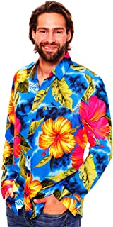 Original King Kameha | Funky Camisa Hawaiana Señores | XS-6XL |Manga Larga Bolsillo Delantero | impresión De Hawaii| Florón