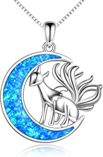 Gabcus Fox Animal Pendants Necklaces Footprints Paw Dragonfly Charm Women Men Girls Boy Unisex Fashion Trendy Jewelry Best Friend Gift Metal Color: NE1492