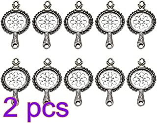 FENICAL Metal Vintage Silver Round Pendant Trays Sets for DIY Jewelry Making Accessory for Necklace Bracelet 20pcs