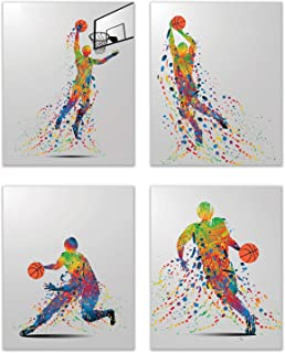 Summit Designs Rainbow Basketball Wall Art Decor - Set of 4 (8x10) Unframed Poster Prints