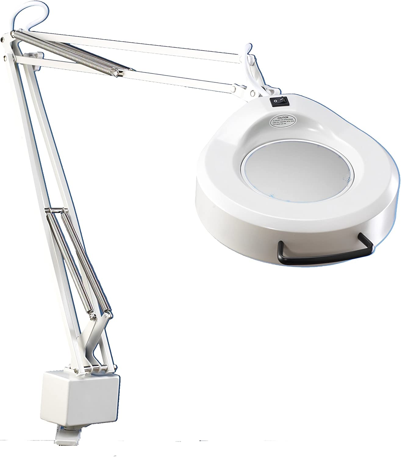 Luxo 16346LG IFM Magnifier, 45  External Spring Arm, 5-Diopter, Edge Clamp, Light Grey