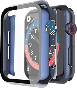Misxi 2 Pack Hard PC Case with Tempered Glass Screen Protector Compatible with Apple Watch Series 6 SE Series 5 Series 4 40mm, 1 Blue + 1 Transparent