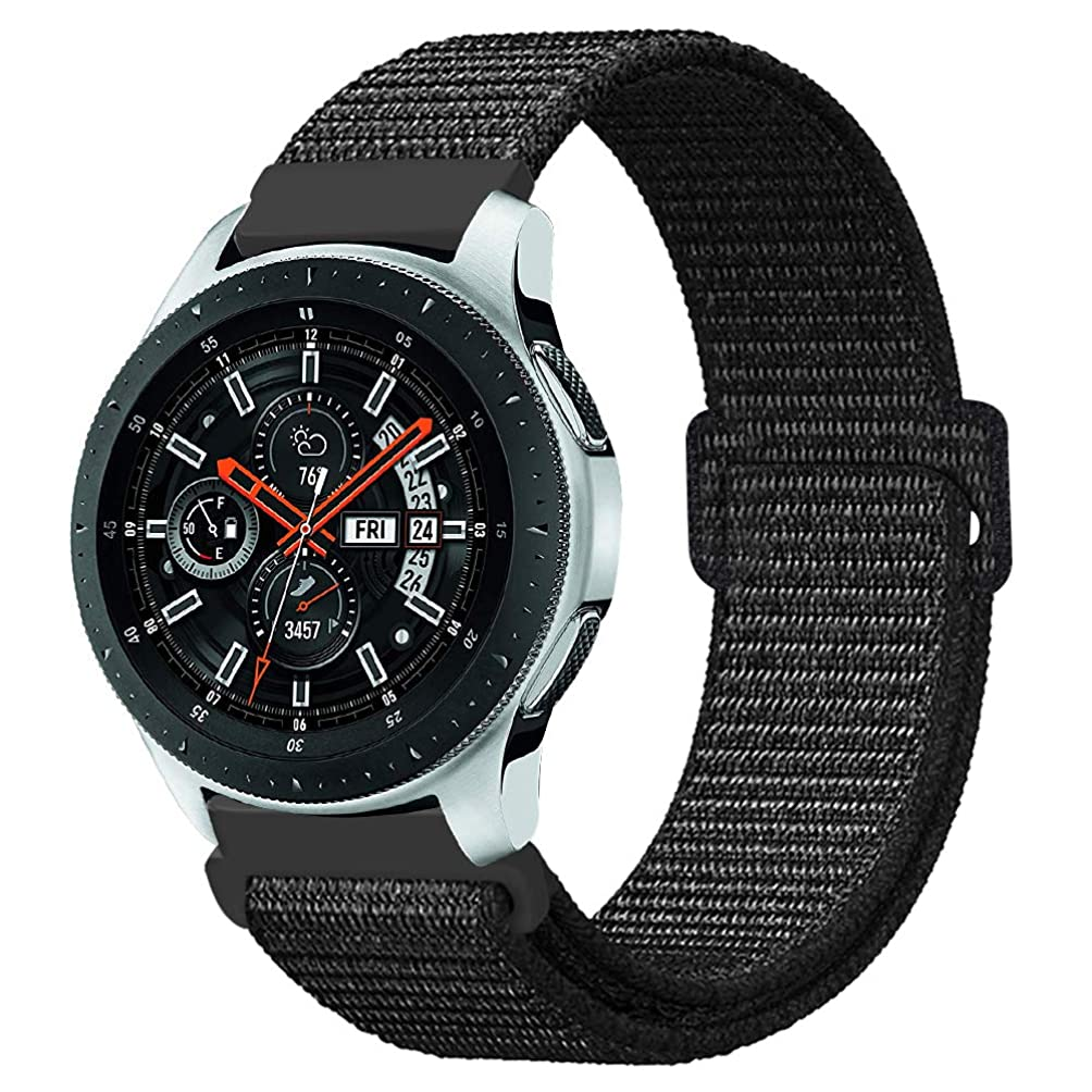 口径読書をするブレスFINTIE for Samsung Galaxy Watch 46mm / Gear S3 Frontier/Gear S3 Classic バンド 22mm 軽量 通気性 ナイロン スポーツループ 交換用ベルト 調節可能なファスナー閉鎖 Galaxy Watch 46mm / Gear S3 スマートウォッチ スポーツストラップ (ブラック)