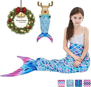 Garlagy Mermaid Tail Blanket for Girls Flannel Soft All Season Sleeping Blankets Bag Bedroom Warm Comforter Outdoor Travel Mermaid Birthday Christmas Gifts for Toddler Kids 3-14Y