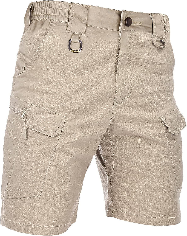 HARD LAND Men's Tactical Cargo Shorts 9.5 Inches Waterproof Ripstop Elastic Waist BDU Work Shorts Hiking