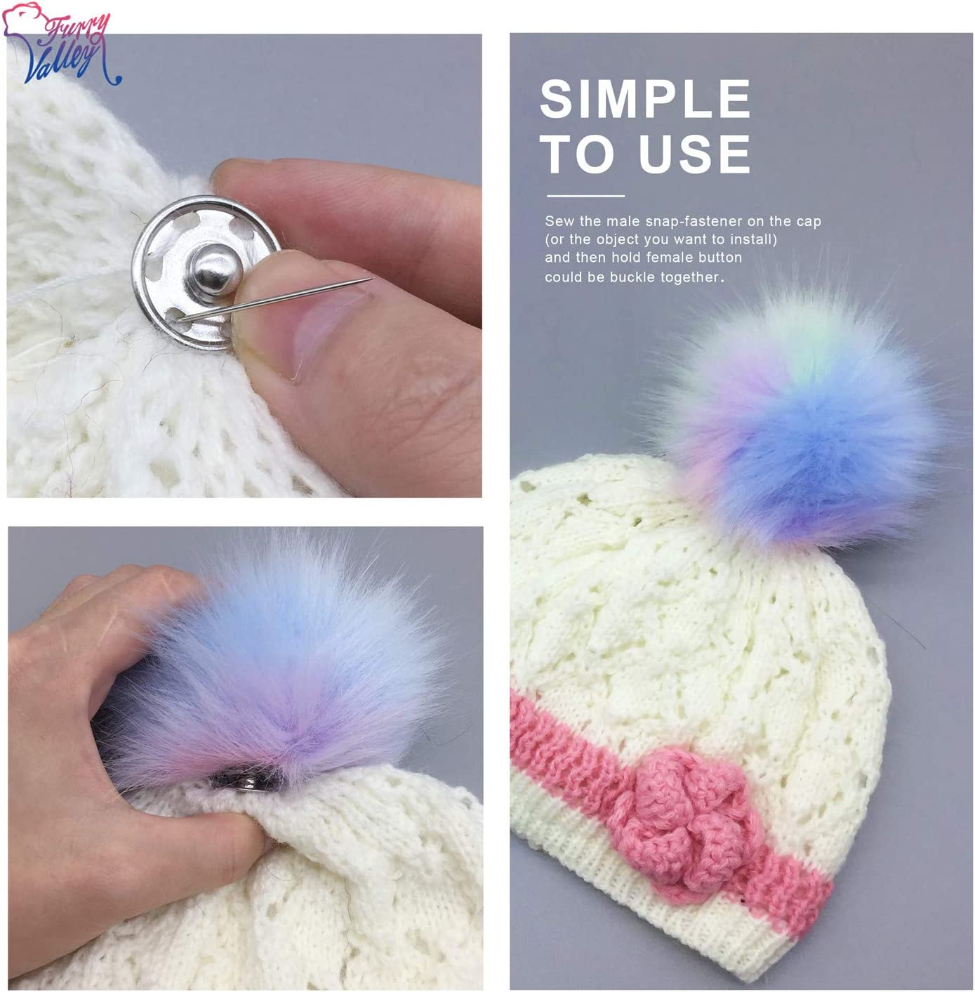 Colorful Colorful2 FurryValley Faux Fur Pompom 6pcs DIY Crafts Fluffy Balls for Hat Shoes Scarves with Snap Fastener Removable Knitting Hat Accessories 4.3 Inch