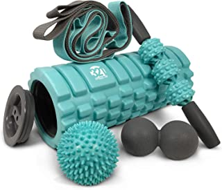 321 STRONG 5 in 1 Foam Roller Set Includes Hollow Core Massage Roller with End Caps, Muscle Roller Stick, Stretching Strap, Double Lacrosse Peanut, Spikey Plantar Fasciitis Ball, All in Giftable Box