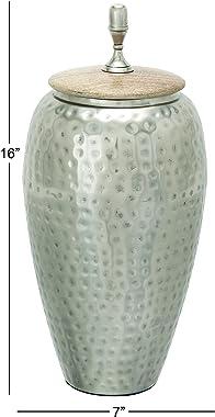 """Deco 79 37529 Astounding Metal Wood Jar, 7"""" W x 16"""" H"""