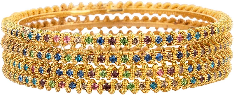 Efulgenz Indian Bollywood CZ Crystal Rhinestone Gold Plated Multicolor Wedding Bridal Bracelet Bangle Set Jewelry