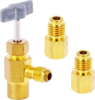 Refrigerant Opening Valve Adaptor Sets,1 Piece 8401 Top Style Metal Can Tap Faucet and 2 Pieces 6014 R12 1/4 Flare Female to 1/2 Male Refrigerant Tank Vacuum Pump Adapter