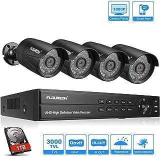 FLOUREON DVR Video Kit de vigilancia (8CH 1080N AHD DVR + 4 *1080P 3000TVL 2.0MP cámara exterior+disco duro de 1TB HDD) copia de seguridad USB alarma por correo electrónico sistema de seguridad