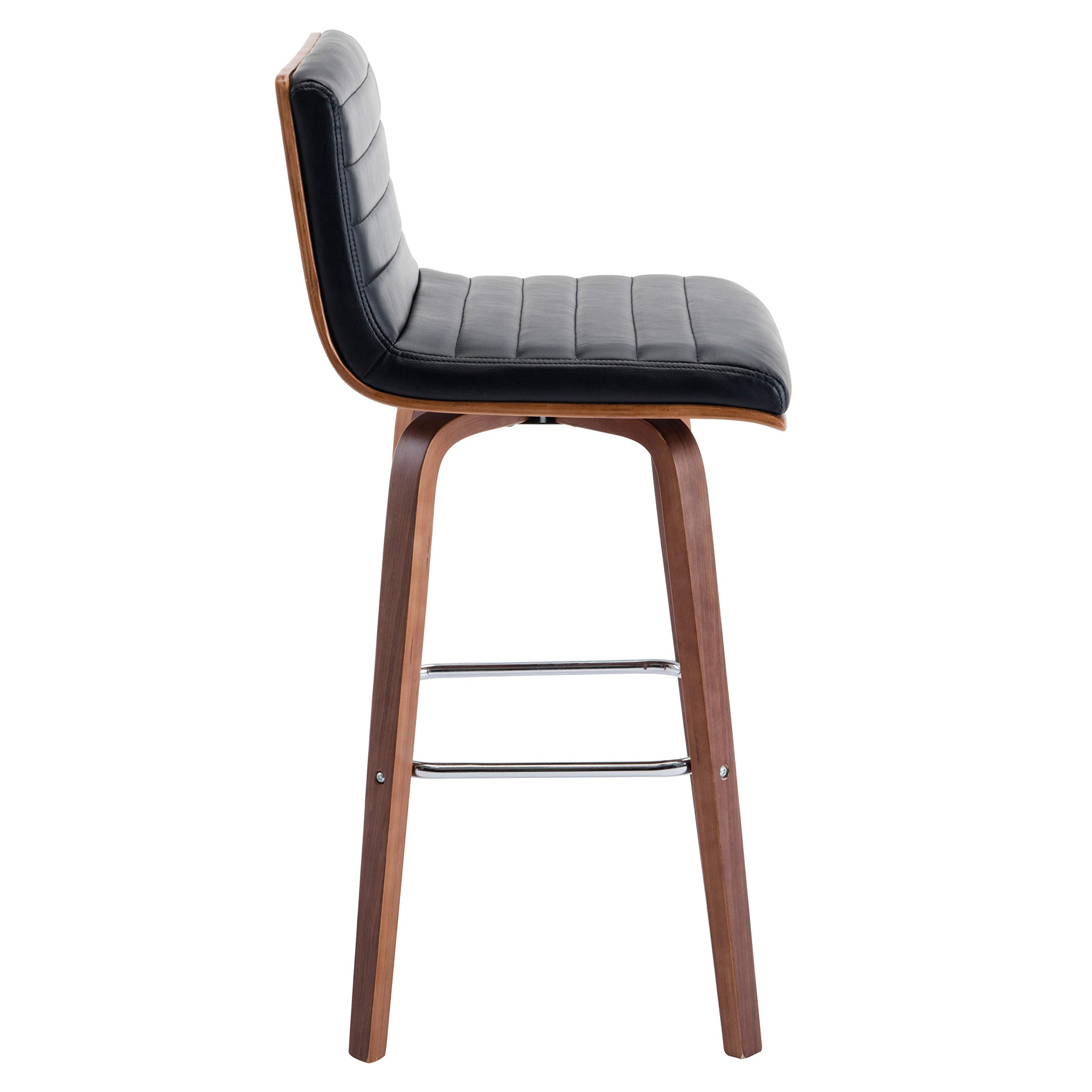 Seat Height 28 Inches Size 39 x 17 x 19 Inches Modern Dining Chairs with Stylish Wood Legs for Practical Sturdy Support Easy Clean PU Leather for Home or Business One Porthos Home TFC053A BLK Grey or Black