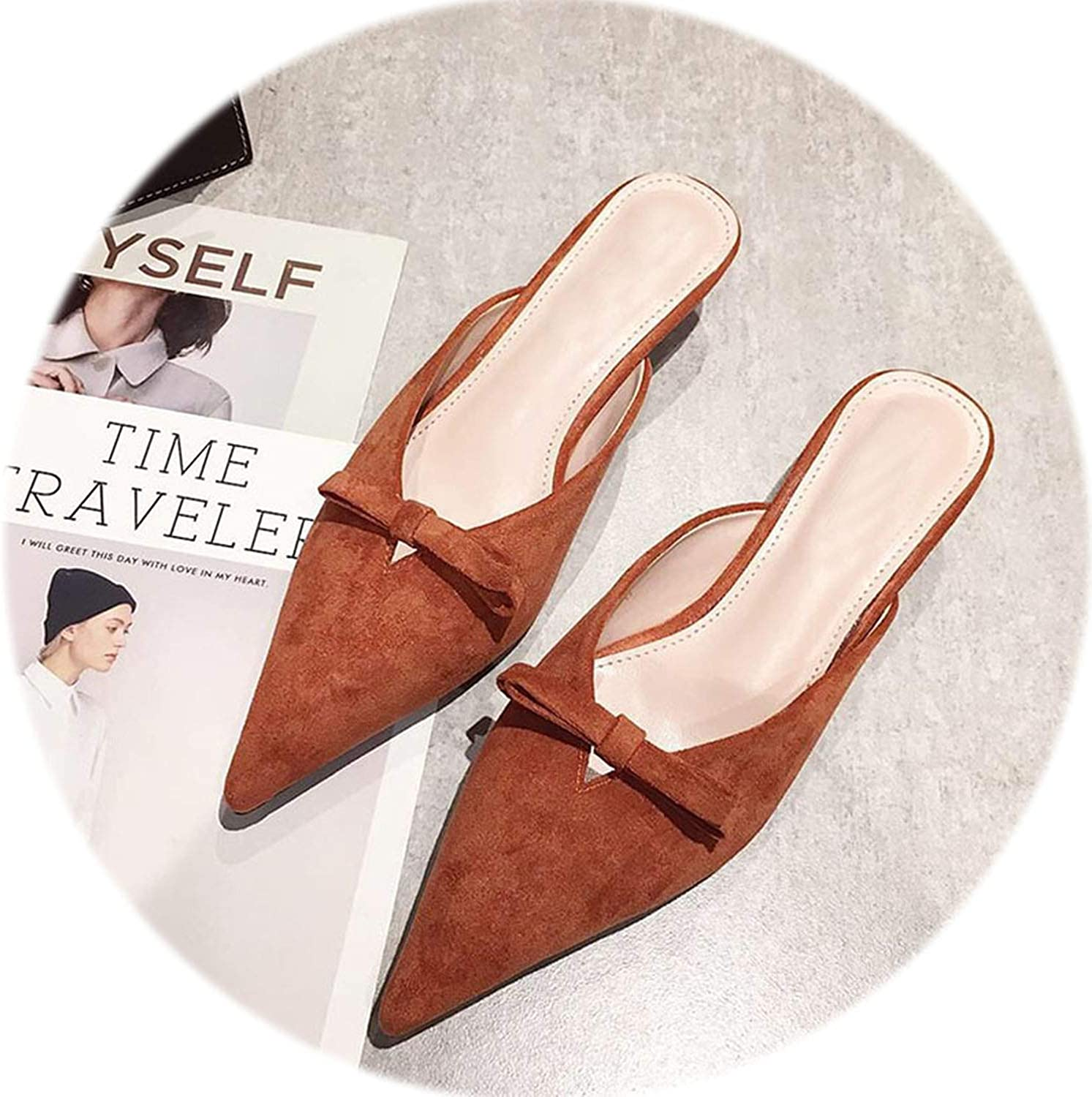 Gooding life Sexy High Heels shoes Flock Bowtie Women Mules shoes Elegant Strange Heel Ladies shoes