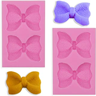 HengKe 2 Pieces large Bow Silicone Fondant Molds bowknot Molds Handmade Ice Cream Soap Mould Crystal Cupcake Cake Topper D...