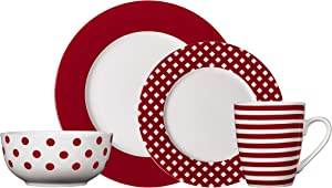 Pfaltzgraff Kenna Red 16-Piece Porcelain Dinnerware Set, Service for 4