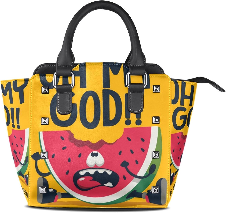 My Little Nest Women's Top Handle Satchel Handbag Funny Summer Watermelon Ladies PU Leather Shoulder Bag Crossbody Bag