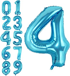 KIMIOX Number Balloons, 2 Pcs 40 Inch Birthday Number Balloon Party Decorations Supplies Helium Foil Mylar Digital Balloons (Blue Number 4)