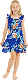 Girl Ruffle Wrap Hawaiian Luau Dress in Hibiscus