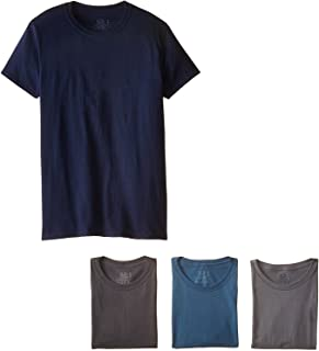 Fruit of the Loom Men's Stay Tucked Crew T-Shirt, (X-Large, Assorted Blue/Grey) (Pack of 4)